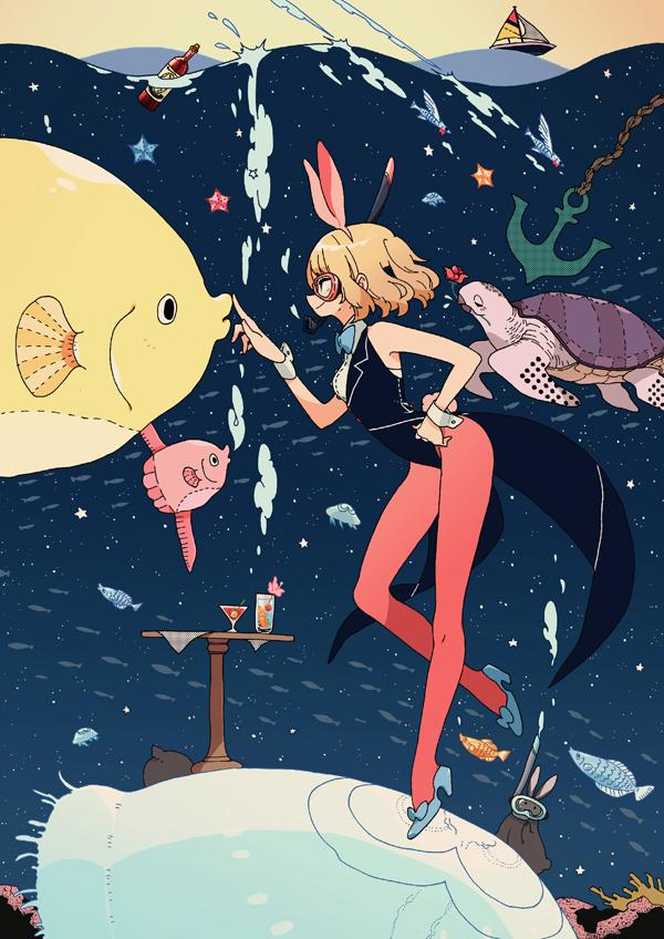 Tags: Anime, Keisin, Turtle, Starfish, Snorkel, Anchor, Martini, Jellyfish, Mobile Wallpaper
