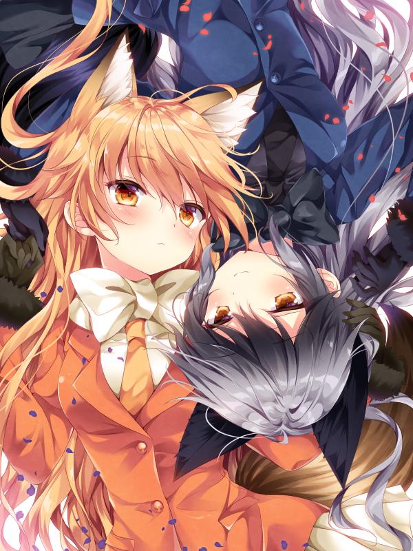 Tags: Anime, Nogi Takayoshi, Kemono Friends, Ezo Red Fox (Kemono Friends), Silver Fox (Kemono Friends), Mobile Wallpaper