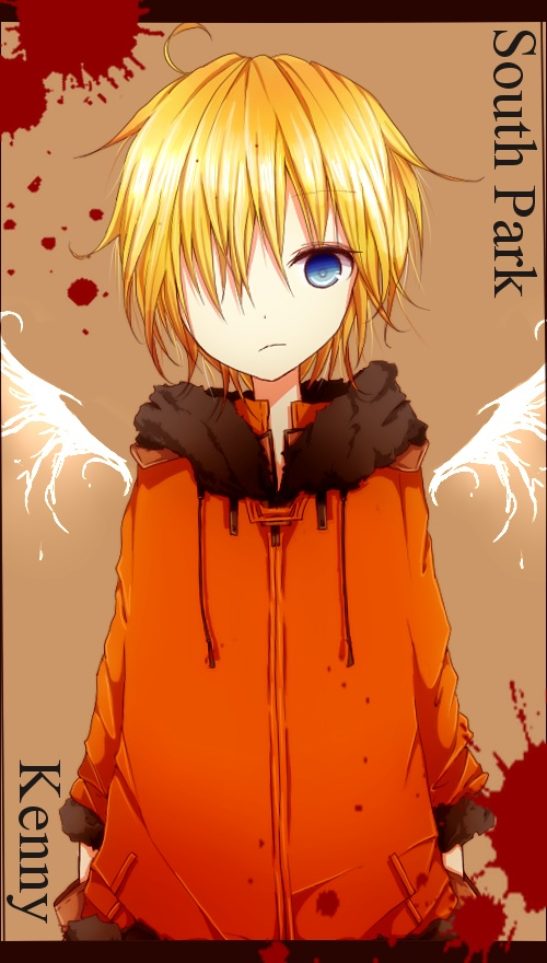 Tags: Anime, Saiban In Seido, South Park, Kenneth McCormick, Orange Outerwear, Mobile Wallpaper