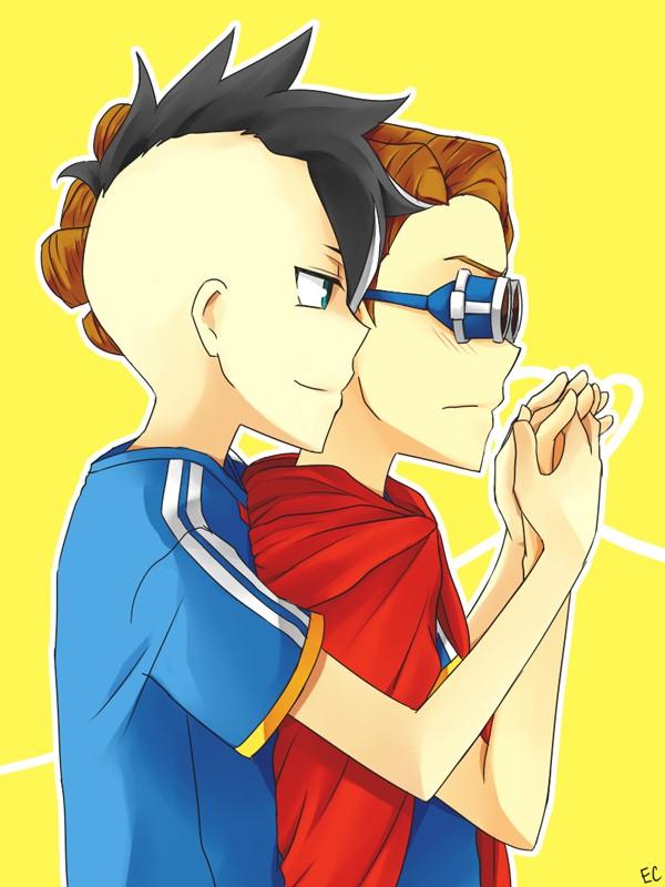 Akio, Kidou Yuuto, Interlocked Fingers, Dreadlocks, Yellow Background