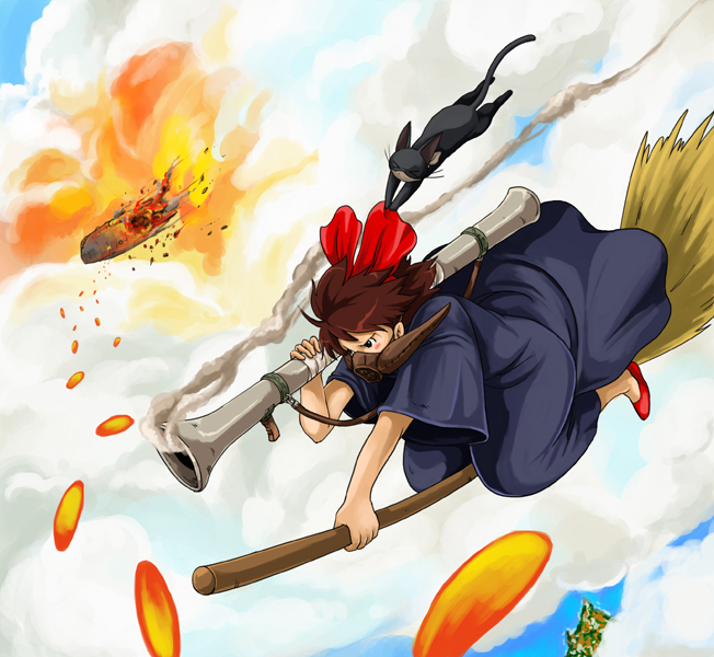 Tags: Anime, Studio Ghibli, Kaze no Tani no Nausicaä, Majo no Takkyuubin, Kiki (Majo no Takkyuubin), Riding, Broom