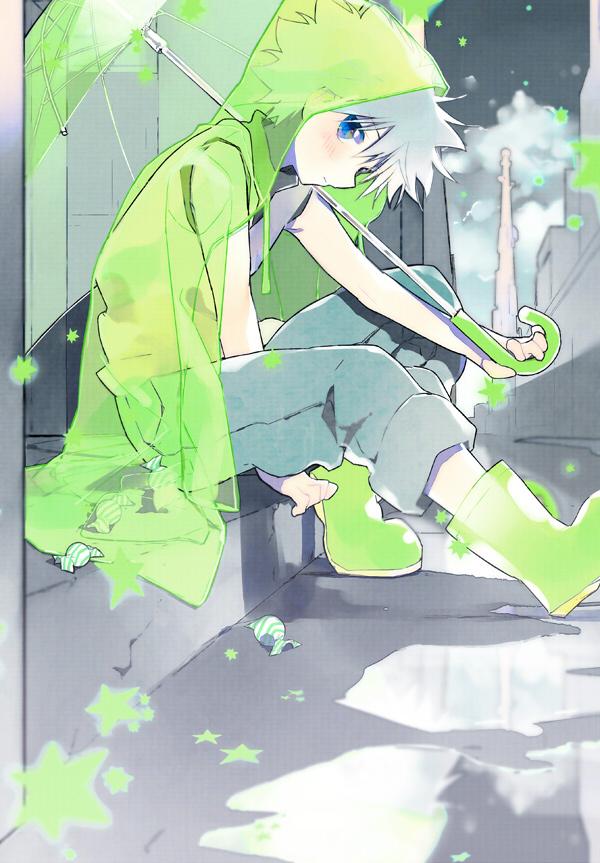 Tags: Anime, Tsunekawa Niwasuke, Hunter x Hunter, Killua Zoldyck, Rain Coat, See Through Umbrella, Fanart From Pixiv, Fanart, Pixiv, Mobile Wallpaper