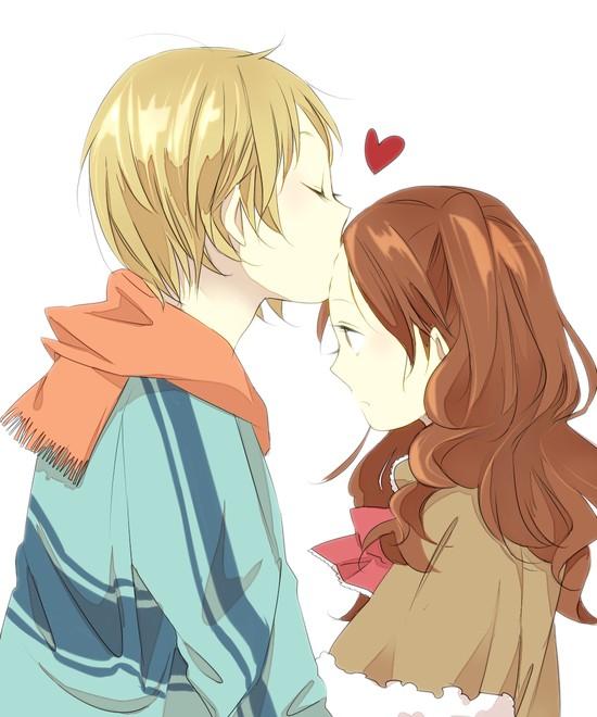 Девушка и парень поцелуй арт