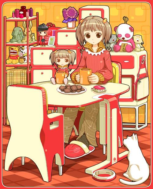 Tags: Anime, Kimura Daisuke, Stuffed Elephant, Stuffed Panda, Pixiv