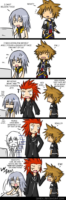 Tags: Anime, Kingdom Hearts II, Kingdom Hearts, Riku (Kingdom Hearts), Sora (Kingdom Hearts), Axel (Kingdom Hearts), O O, Artist Request, deviantART, Comic, Organization XIII