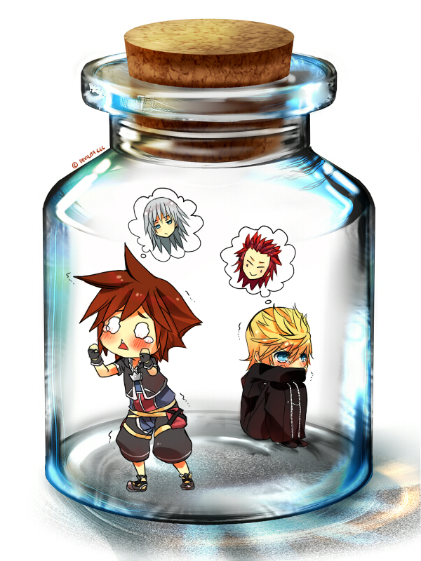 Tags: Anime, Ita-ita-san, Kingdom Hearts II, Kingdom Hearts, Kingdom Hearts 358/2 Days, Riku (Kingdom Hearts), Axel (Kingdom Hearts), Sora (Kingdom Hearts), Roxas, In a Bottle, Pixiv Bottle, Pixiv, deviantART