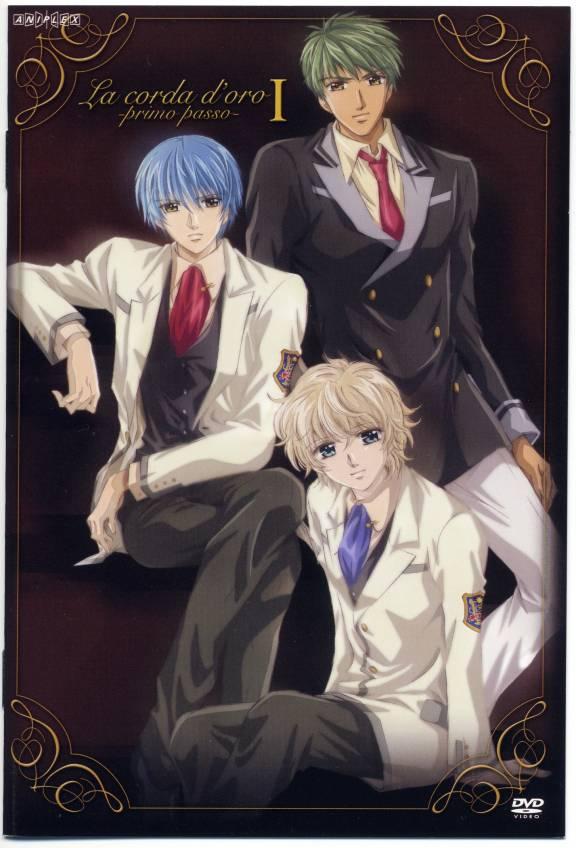 Tags: Anime, Kiniro no Corda, Tsukimori Len, Shimizu Keiichi, Tsuchiura Ryotaro, Official Art, Scan, DVD (Source), La Corda D'oro