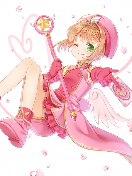 Tags: Anime, Cardcaptor Sakura, Staff, Kinomoto Sakura, Wand, Floating, Card (object)