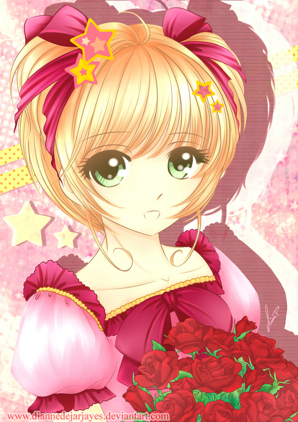 Tags: Anime, Cardcaptor Sakura, Kinomoto Sakura, Pink Dress, Pink Outfit, Bouquet, Red Flower