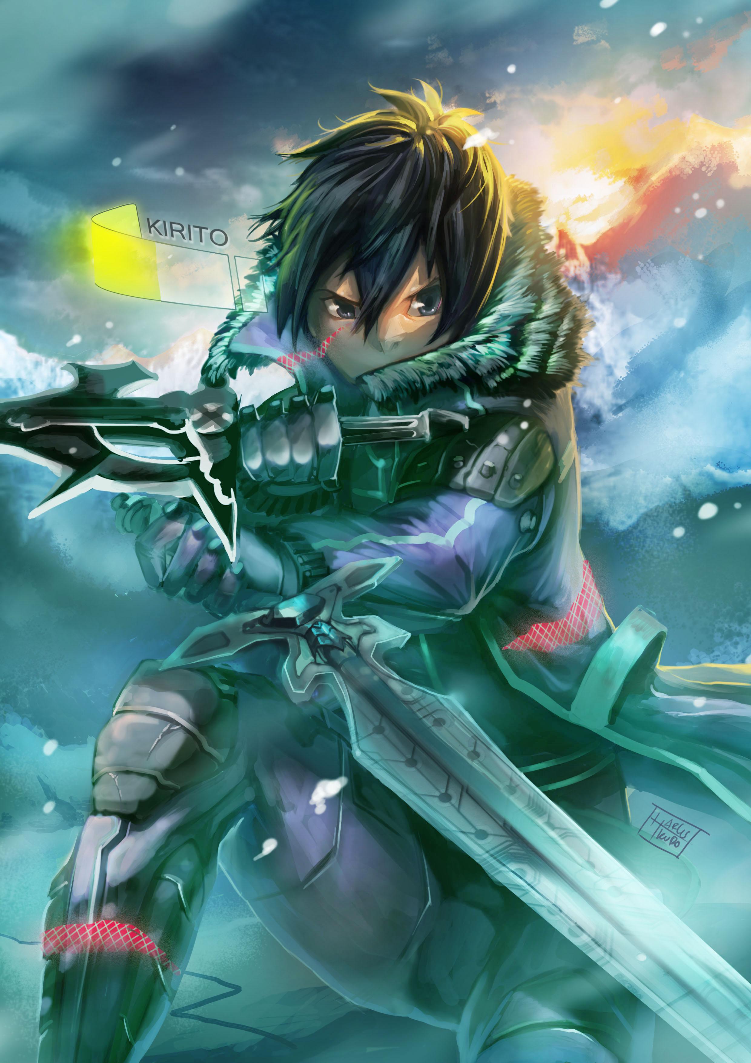 kirigaya kazuto sword mobile wallpaper 1365560 zerochan anime image board