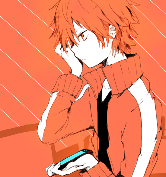 Tags: Anime, Shiuka (Shiupiku), Kagerou Project, Kisaragi Shintaro, Holding Phone, Hand Over One Eye, Fanart, Tumblr, Shintaro Kisaragi