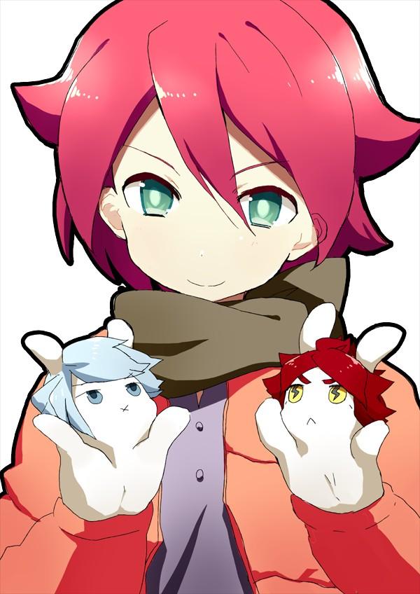 Tags: Anime, Eka Eri, Inazuma Eleven, Kiyama Hiroto, Suzuno Fuusuke, Nagumo Haruya, Hand Puppet, Pixiv, Fanart, 3top