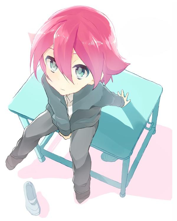Tags: Anime, Eka Eri, Inazuma Eleven, Kiyama Hiroto, Sitting On Table, Pixiv, Fanart