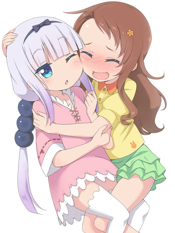 Tags: Anime, Pixiv Id 3766616, Kobayashi-san Chi no Maid Dragon, Kanna Kamui, Saikawa Riko, Wallpaper, Mobile Wallpaper, Miss Kobayashi's Dragon Maid