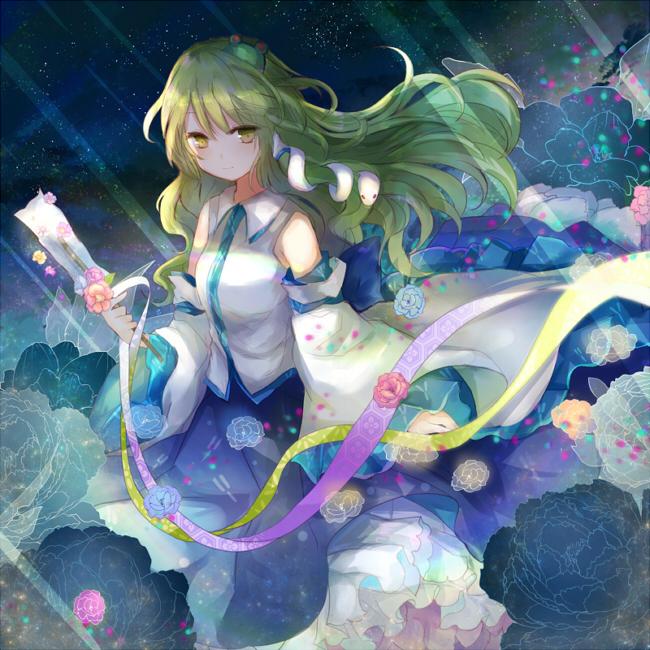 Tags: Anime, Kazu Muchuukai, Touhou, Kochiya Sanae, Moonbeam, Peony, Fanart From Pixiv, Fanart, Pixiv, Sanae Kochiya