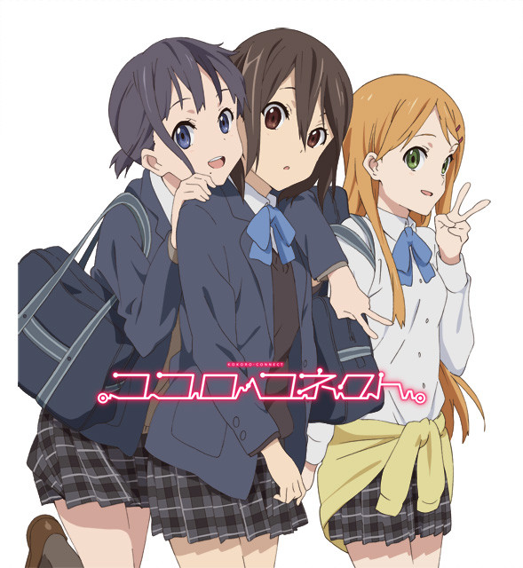 Tags: Anime, Silver Link, Kokoro Connect, Kiriyama Yui, Inaba Himeko, Nagase Iori, Jacket Around Waist, Official Art