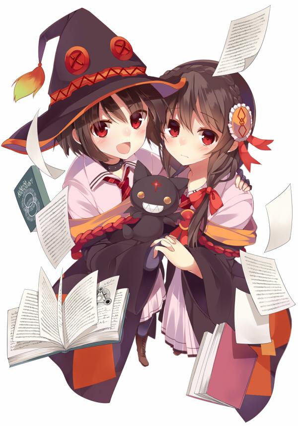 Tags: Anime, Mishima Kurone, Kono Subarashii Sekai ni Shukufuku wo!, Yunyun (KonoSuba), Megumin, Mobile Wallpaper, Official Art