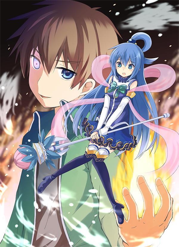 Tags: Anime, Watari Masahito, Kono Subarashii Sekai ni Shukufuku wo!, Satou Kazuma, Aqua (KonoSuba), Mobile Wallpaper, Official Art