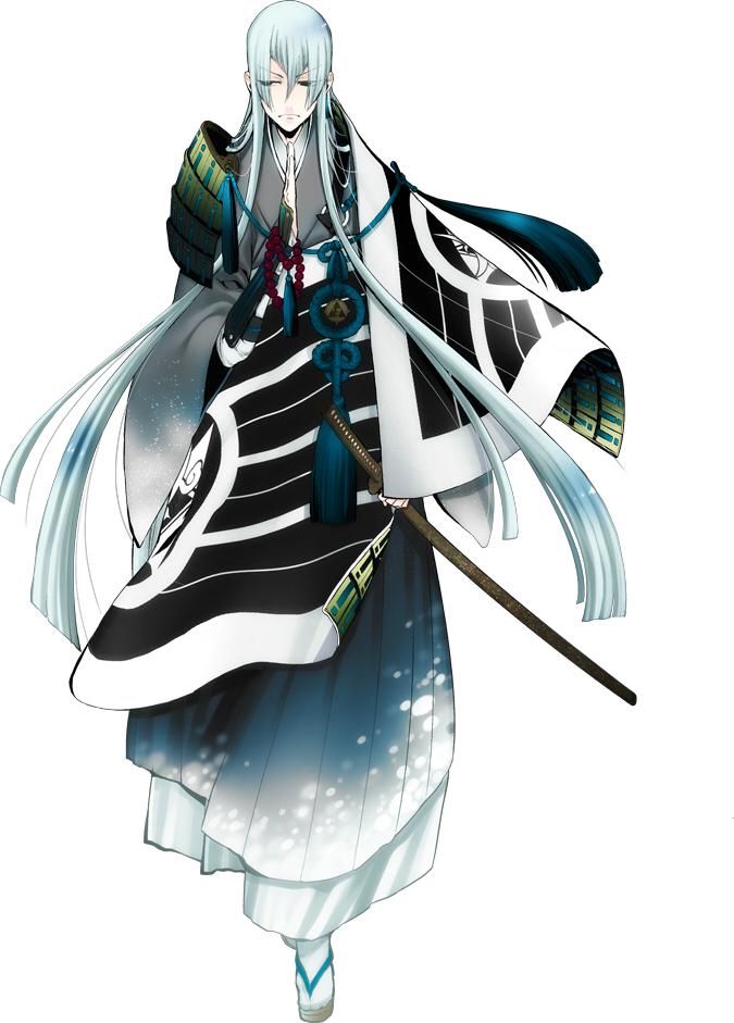 Tags: Anime, Suzuki Jirou, Nitro+, Touken Ranbu, Kousetsu Samonji, Japanese Armor, Asymmetrical Clothing, Tachi, Official Art, Cover Image, Mobile Wallpaper, PNG Conversion