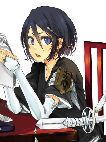Tags: Anime, Pikeish, BLEACH, Kuchiki Rukia, Paintbrush, Chair, Reading