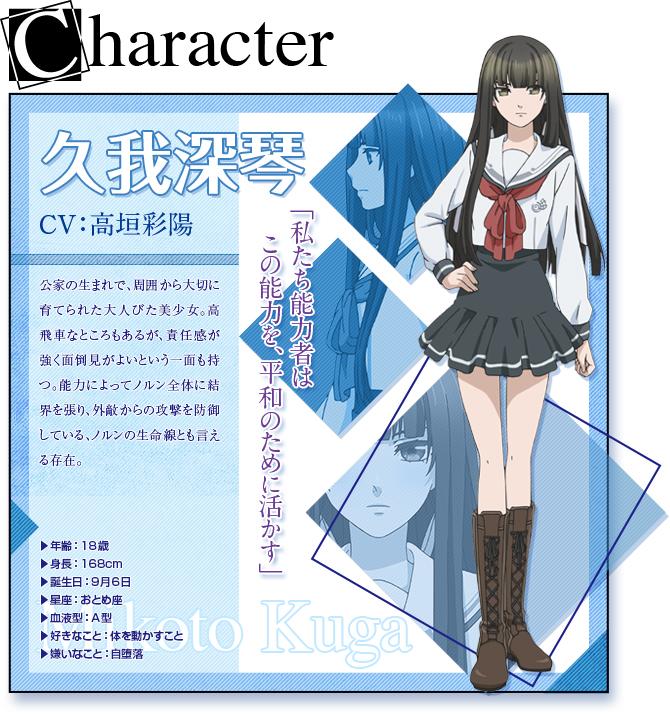 Tags: Anime, Takeuchi Yukari, Kinema Citrus, NORN9 ~Norn + Nonette~, Kuga Mikoto, Official Art, Character Profile, PNG Conversion
