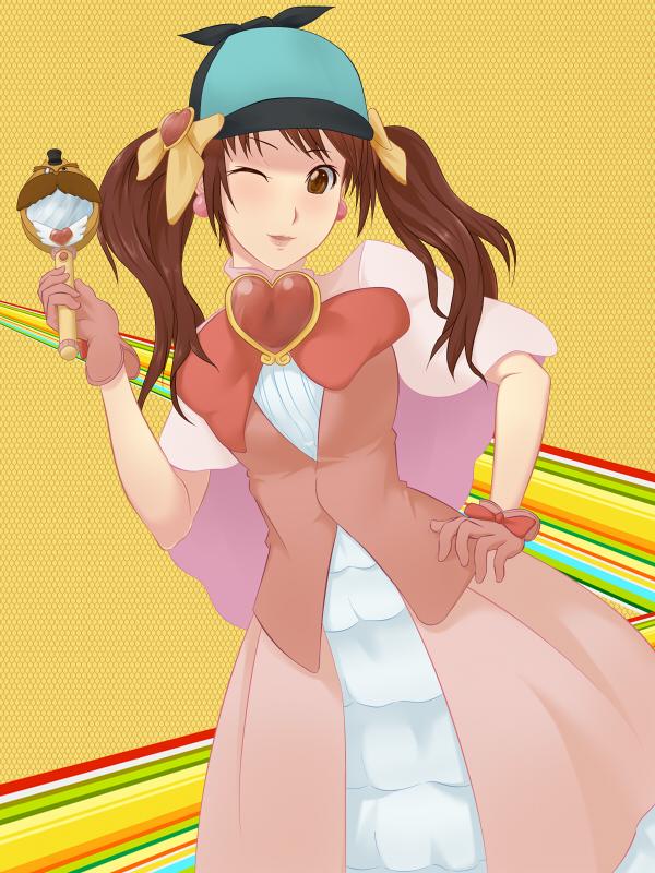 Tags: Anime, Pixiv Id 1315064, Shin Megami Tensei: PERSONA 4, Kujikawa Rise, Loveline (Cosplay), Hand Mirror, Fanart, Fanart From Pixiv, Pixiv