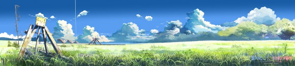 Tags: Anime, Makoto Shinkai, Kumo no Mukou Yakusoku no Basho, Scenery, Railroad Tracks, Grass, Nature