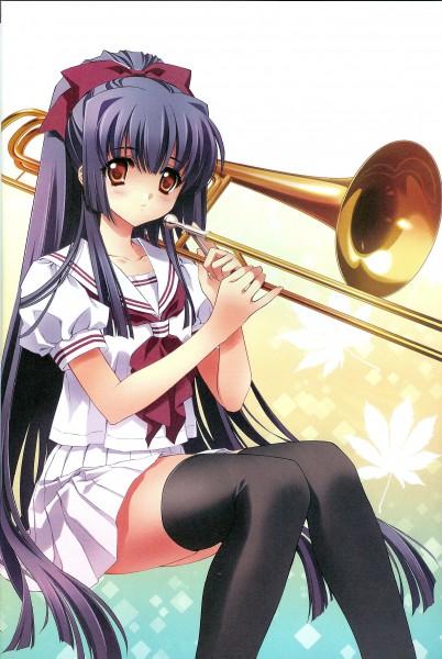 Tags: Anime, CARNELIAN, Kao no nai Tsuki, Kuraki Suzuna, Sailor Collar, White Skirt, Trombone