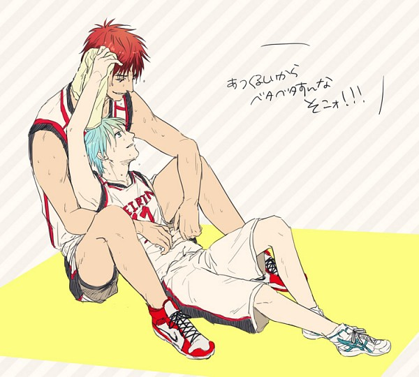 Tags: Anime, Mmm (Xbit), Kuroko no Basuke, Kuroko Tetsuya, Kagami Taiga, Basketball Uniform (Seirin High), Towel