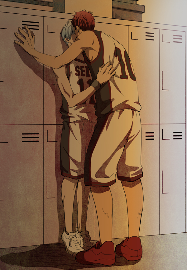Tags: Anime, Pixiv Id 3367319, Kuroko no Basuke, Kagami Taiga, Kuroko Tetsuya, Leaning Forwards, Standing On Tip Toes, Cornered, Locker Room, Grabbing Shirt, Kabe-don, Locker, Pixiv, Kuroko's Basketball