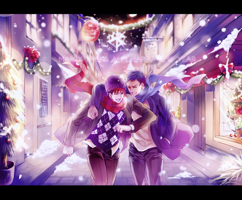 Новогодние картинки аниме парни, красивые