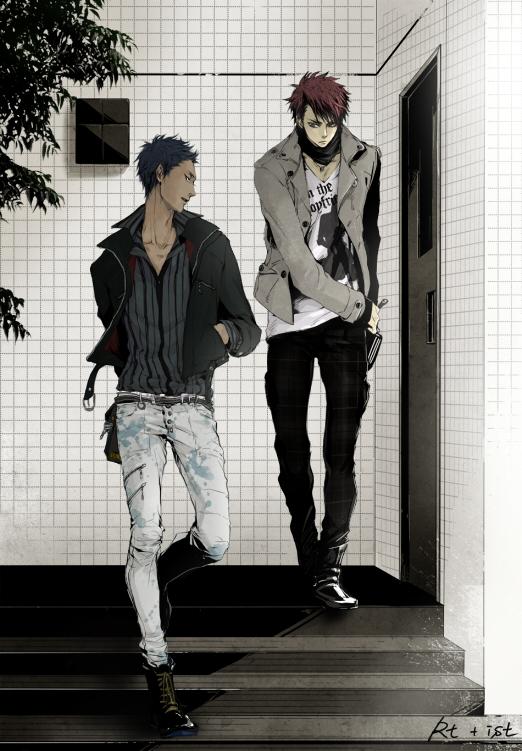 Tags: Anime, Ist, Kuroko no Basuke, Aomine Daiki, Kagami Taiga, Mobile Wallpaper, Fanart From Pixiv, Pixiv, Fanart, Kuroko's Basketball