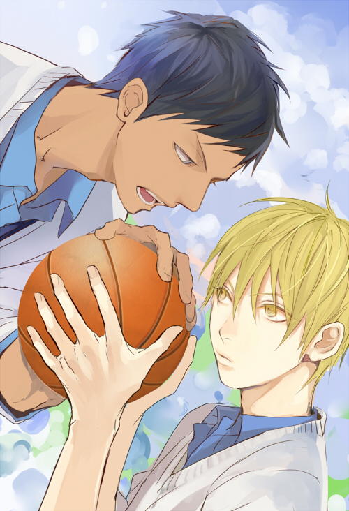 Tags: Anime, Megane Hoata, Kuroko no Basuke, Aomine Daiki, Kise Ryouta, Mobile Wallpaper, Fanart, Kuroko's Basketball