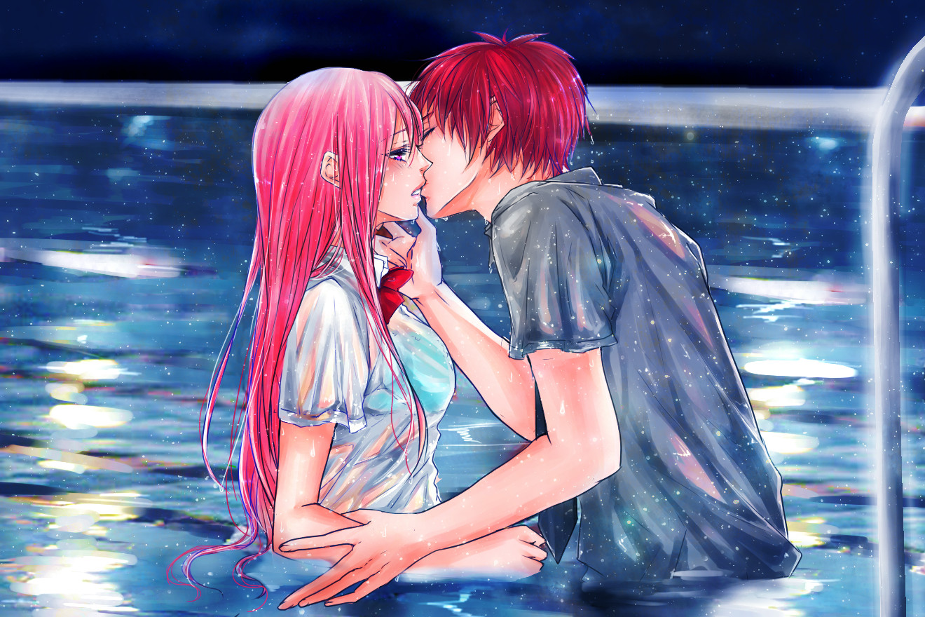 Рыжая и черноволосая девушки целуются 4 фотография