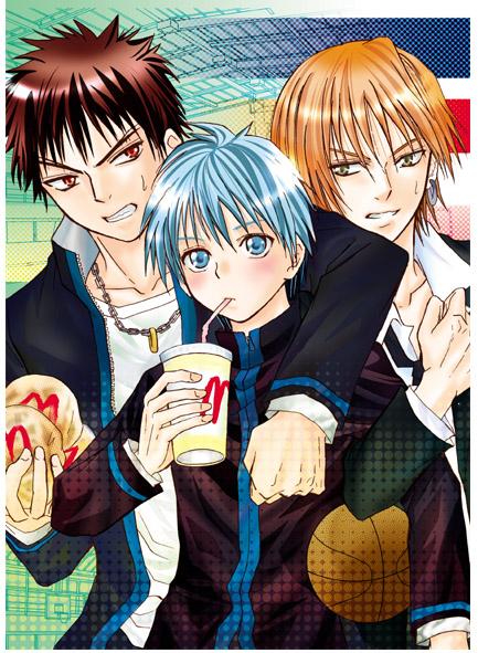 Tags: Anime, Miku Ayase, Kuroko no Basuke, Kagami Taiga, Kuroko Tetsuya, Kise Ryouta, McDonald's Meal, Pixiv, Fanart, Kuroko's Basketball