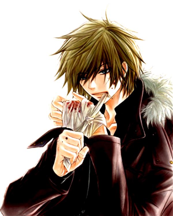 Tags: Anime, Motomi Kyousuke, Dengeki Daisy, Kurosaki Tasuku, Bandaged Hand, Biting Lip