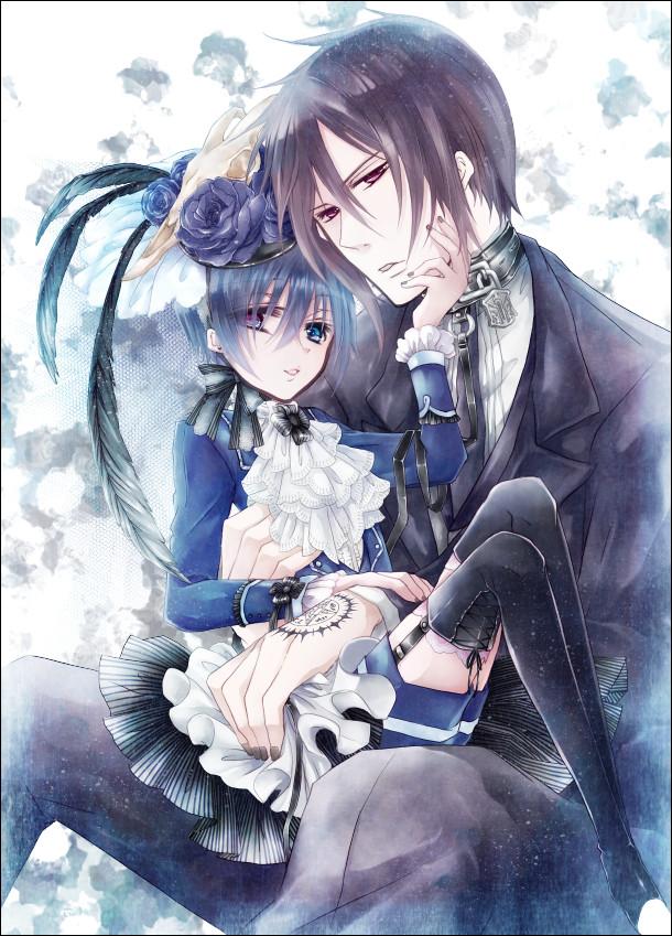 Tags: Anime, Mesubuta, Kuroshitsuji, Ciel Phantomhive, Sebastian Michaelis, Demon Seal, Black Flower, Fanart, Pixiv, Mobile Wallpaper, Black Butler