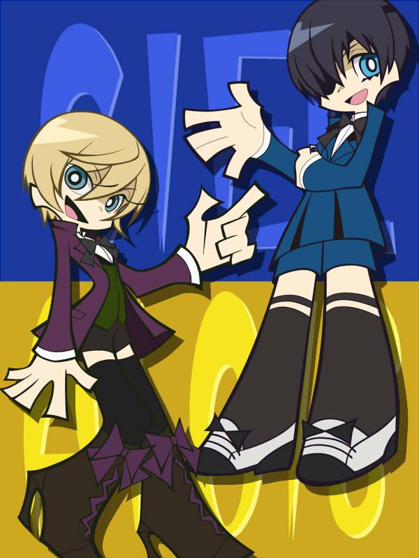 Tags: Anime, Yun (Pixiv1505285), Kuroshitsuji, Alois Trancy, Ciel Phantomhive, Panty and Stocking with Garterbelt (Parody), Fanart, Pixiv, PSG Character Design, Black Butler