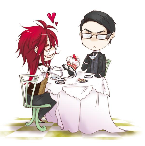 Tags: Anime, Camellia (Artist), Kuroshitsuji, Grell Sutcliff, William T. Spears, Cake, Teacup