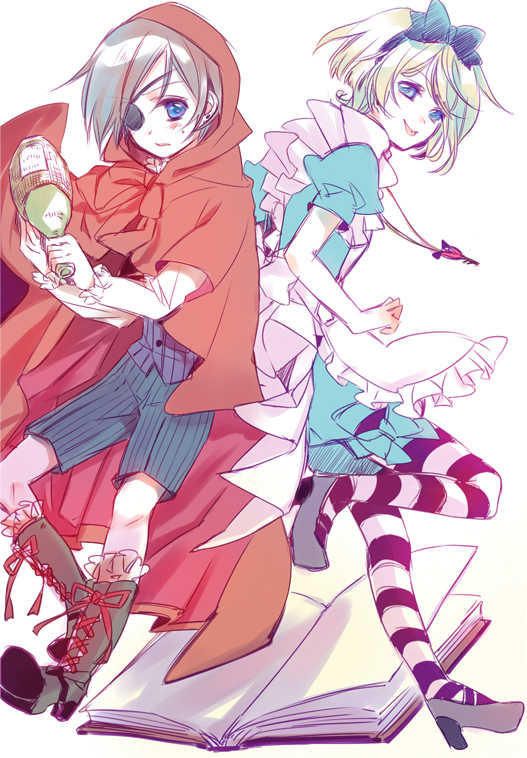 Tags: Anime, Yamada Ako, Kuroshitsuji, Ciel in Wonderland, Alois Trancy, Ciel Phantomhive, Red Riding Hood (Cosplay), Alice (Alice in Wonderland) (Cosplay), Mobile Wallpaper, Fanart, Black Butler