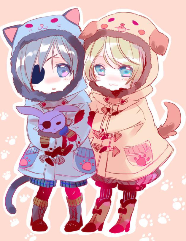 Tags: Anime, Yamada Ako, Kuroshitsuji, Ciel Phantomhive, Alois Trancy, Cat Costume, Dog Tail, Dog Costume, Fanart, Pixiv, Black Butler
