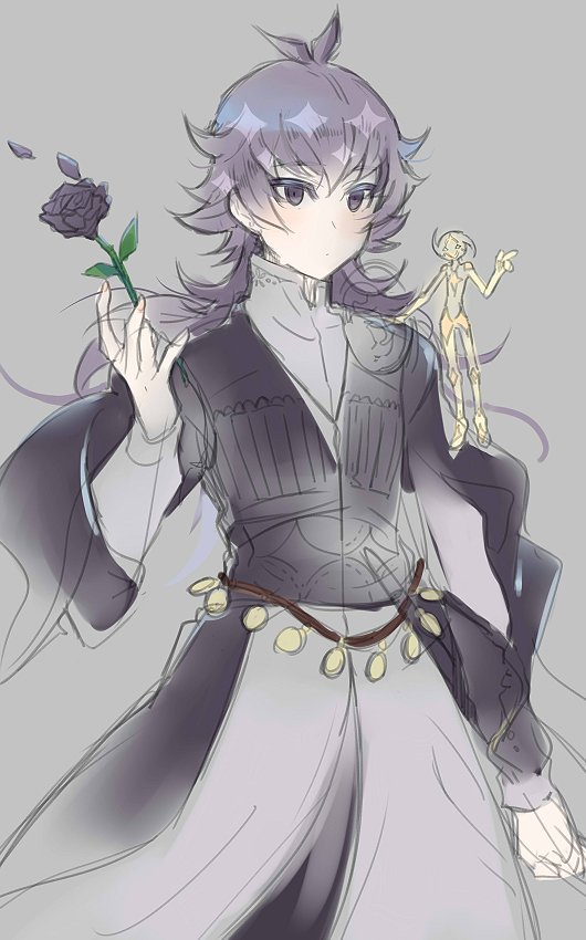 Tags: Anime, Yu-Gi-Oh! VRAINS, Yu-Gi-Oh!, Lightning (Yu-Gi-Oh! VRAINS), Kusanagi Jin, Flower (Personification), Fanart, Artist Request