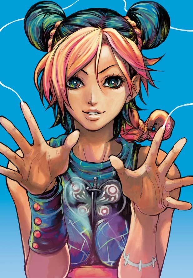 Tags: Anime, Mahito (Tranjistor), JoJo no Kimyou na Bouken, Stone Ocean, Kuujou Jolyne, Morpho, Pixiv, Fanart, Mobile Wallpaper, Fanart From Pixiv