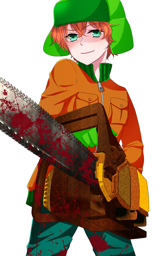 Tags: Anime, Pixiv Id 420944, South Park, Kyle Broflovski, Chainsaw, Pixiv, Mobile Wallpaper
