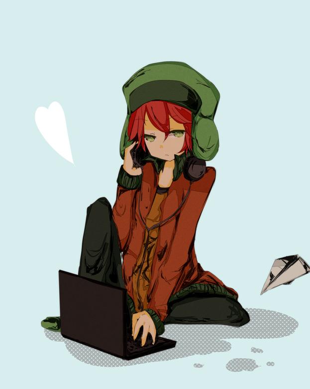 Tags: Anime, Shinoki, South Park, Kyle Broflovski, Hand on Headphones, Paper Airplane