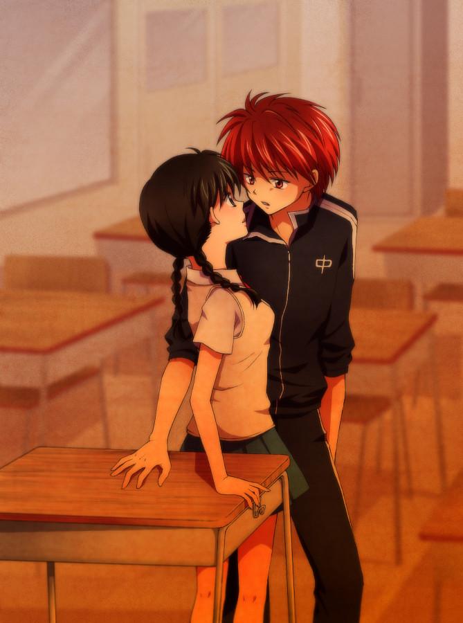 Tags: Anime, Yu-dp, Kyoukai no Rinne, Rokudou Rinne, Mamiya Sakura, School Desk, Pixiv, Fanart