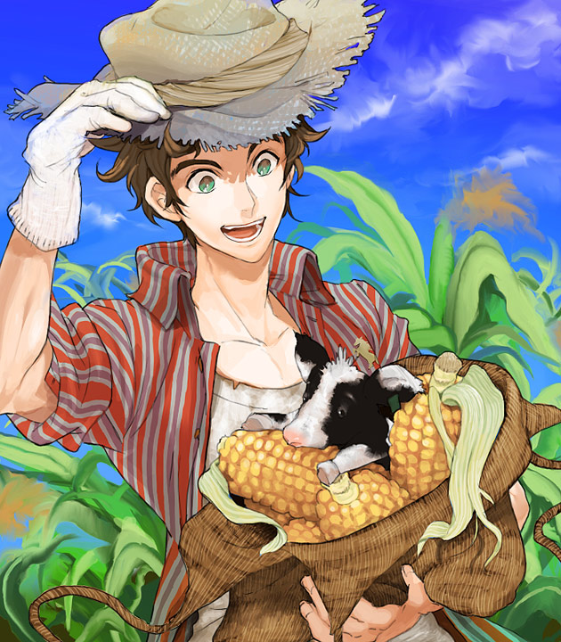 Image result for anime farmer with corn