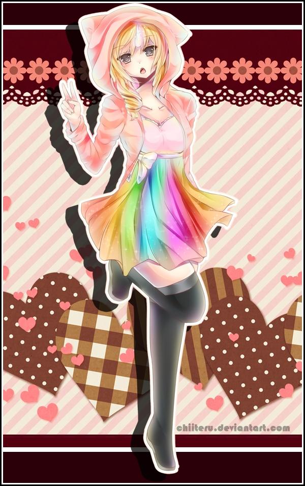 Tags: Anime, Chiiteru, Adventure Time, Lady Rainicorn, Pink Hoodie, Mobile Wallpaper, deviantART