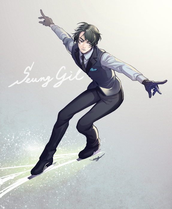 Tags: Anime, Pixiv Id 7477397, Yuri!!! On Ice, Lee Seung-gil, Skating, PNG Conversion
