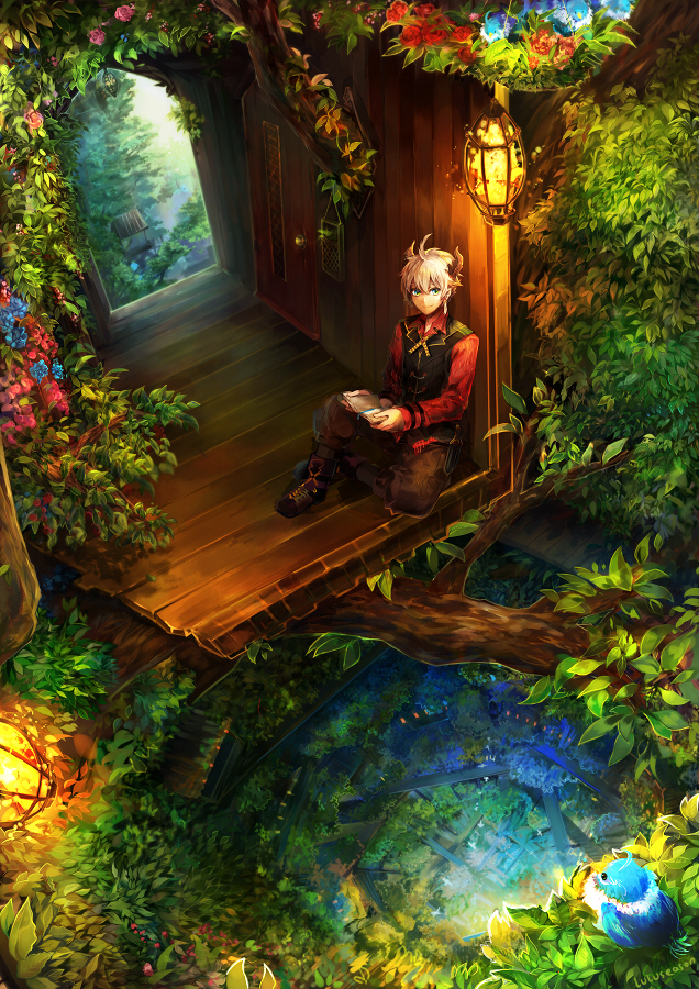 Tags: Anime, LuluSeason, Levon, Treehouse, Blue Bird, PNG Conversion, Original, Mobile Wallpaper, Pixiv Fantasia, deviantART, Pixiv Fantasia: New World, Pixiv
